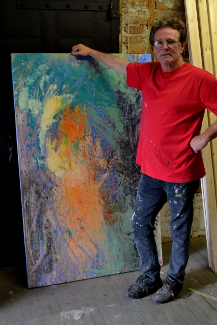 William Rogers and abstract painting. Medium: Carousel paint