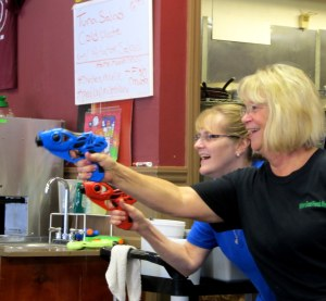 At Raffs Cafe on BYOWG (Water Gun) Day, don't ask for your ice coffee with a side of water
