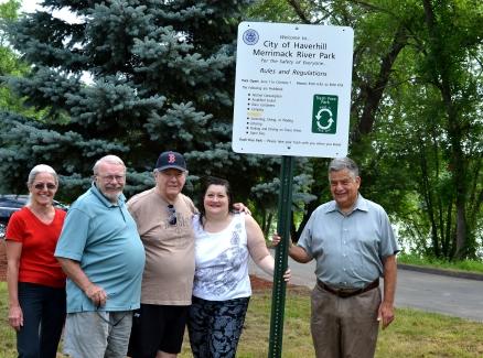 Haverhill Neighbors, Joyce Thibodeau, Steve Breen, Dick LeBlond, Donna Kelley with Mayor Fiorentini at the soon to be open Merrimack River Park