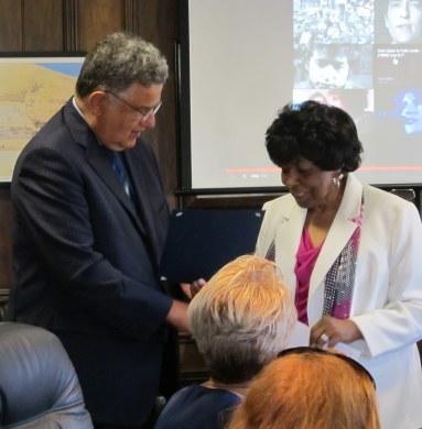 Irene Chretian receives proclamation honoring the March on Washington from Mayor Fiorentini