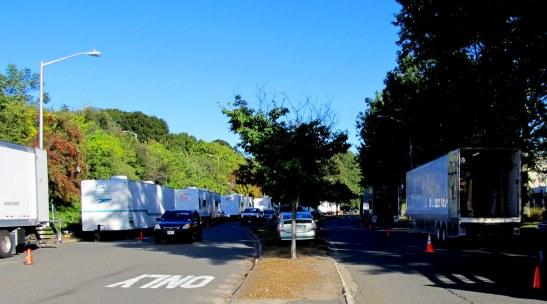Film Crew Trucks on Ginty Blvd Haverhill