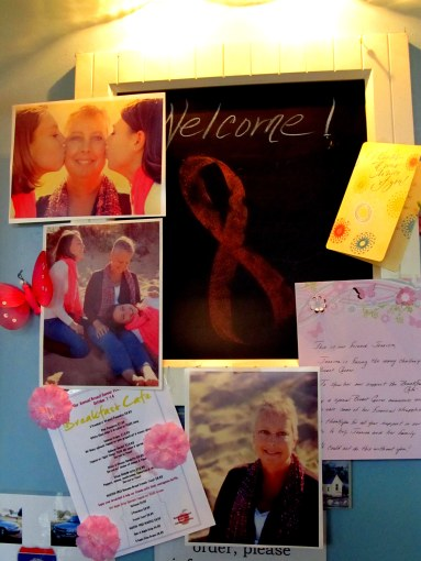 Breakfast Cafe discreetly supports neighbor in her fight against Breast Cancer with special menu, change jar, and lighthouse photo raffle