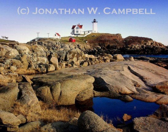 Nubble Lighthouse photograph matted and framed by Jonathan Campbell