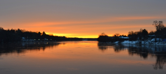 Merrimack River Haverhill Red Sky in Morning