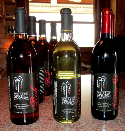 Three varieties of Willow Spring Wine were available for tasting