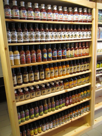 A wall full of sauces