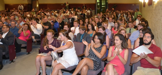 The NHS Inductees within the right section of HHS Auditorium