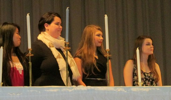 NHS president Stephanie Zuber, vice president Nicole Conte, secretary Eliza Bowen, and treasurer Emily Nguyen.