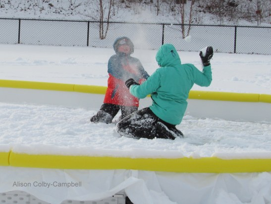 Snow skirmish at Swasey Field Ice Rink