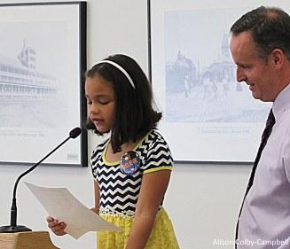 Letter writing winner Aulani Melendez from Tilton Elementary School