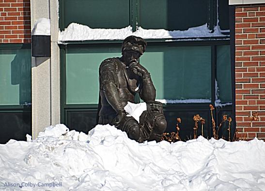 DSC_3573 Haverhill Snow 2018 HHS Thinker Statue