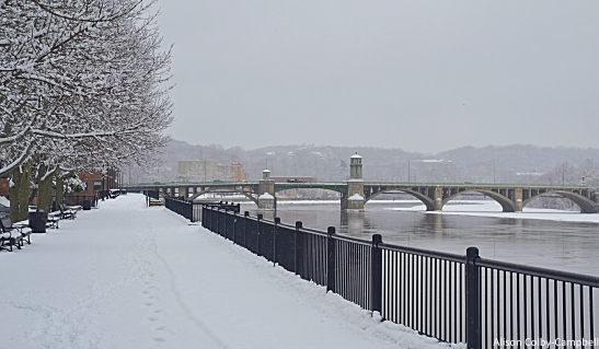 DSC_3927 Haverhill Downtown Basiliere Bridge from Dempsey Boardwalk winter snow