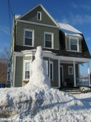 Peraps the tallest snow person in Haverhill - over one story high